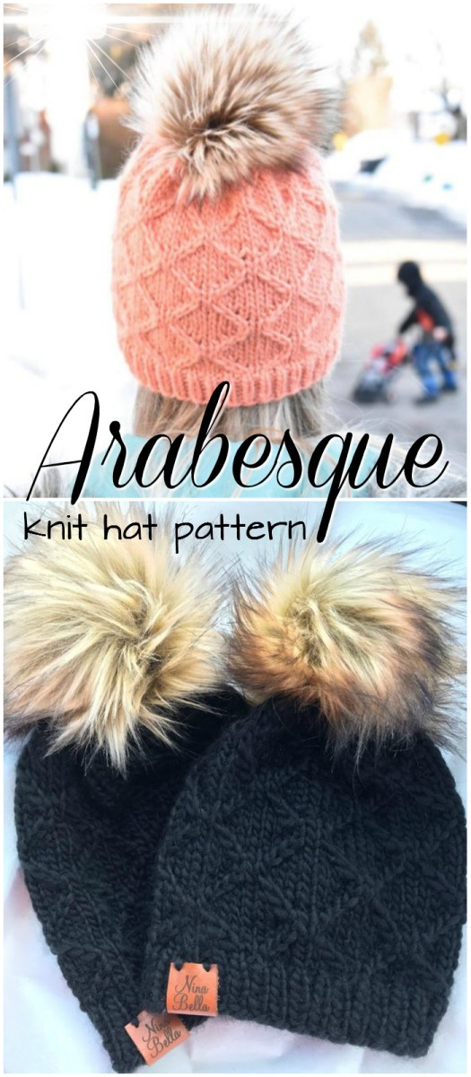 I love this gorgeous knitting pattern with this diamond stitch pattern and lovely fluffy pompom! Great find by #craftevangelist along with other gorgeous fall hat patterns!