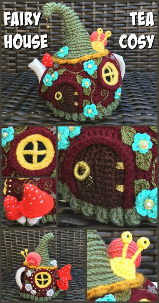 Check out this super adorable crocheted Fairy House Tea Cozy! Wow! Look at the detail! It's so crazy! #crafts #crochet #pattern #tutorial #diy #yarn #teacosy #fairyhouse