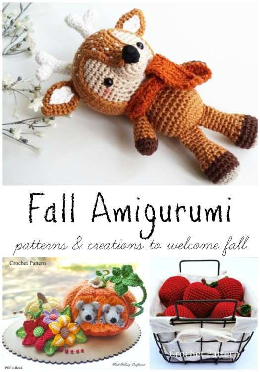 Adorable autumn amigurumi patterns, perfect for fall! I love the sweet little reindeer with a fall scarf! #craftevangelist