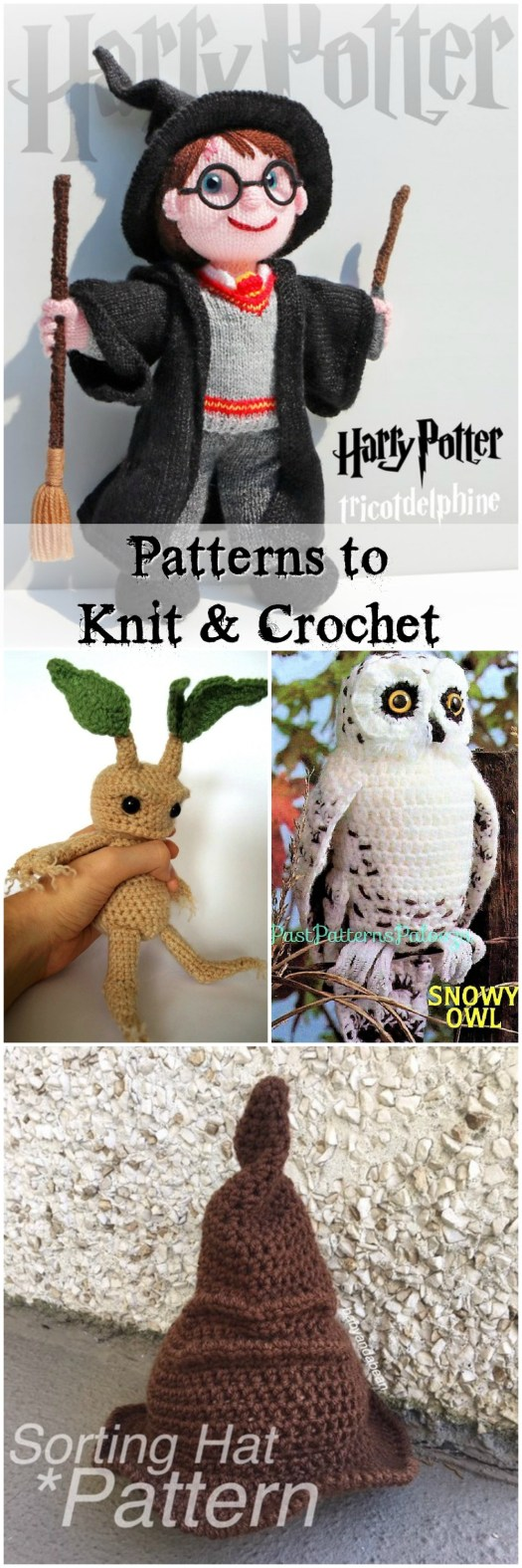 Four adorable knit and crochet patterns inspired by Harry Potter! I love the Mandrake pattern! So cute!