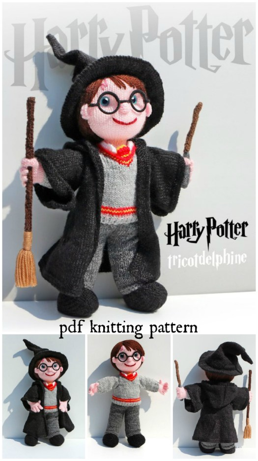 Wow! Look at the detail and the beautiful knitting design of this Harry Potter doll knitting pattern! So great! This would make a lovely hand-knit toy for a Harry Potter fan! #HarryPotter #Potterhead #knitting #toys #handmade #pattern #stuffedtoys #stuffies