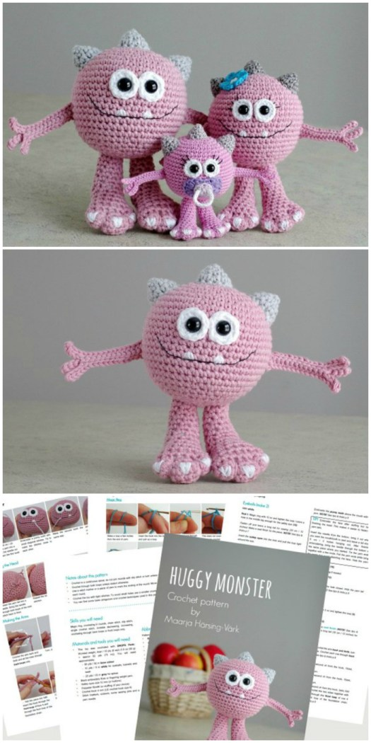 What a sweet little adorable monster family crochet pattern! I love the little baby monster with the soother! This would be a super fun handmade gift idea for a family welcoming a new baby! Part of a monster pattern round up by #craftevangelist