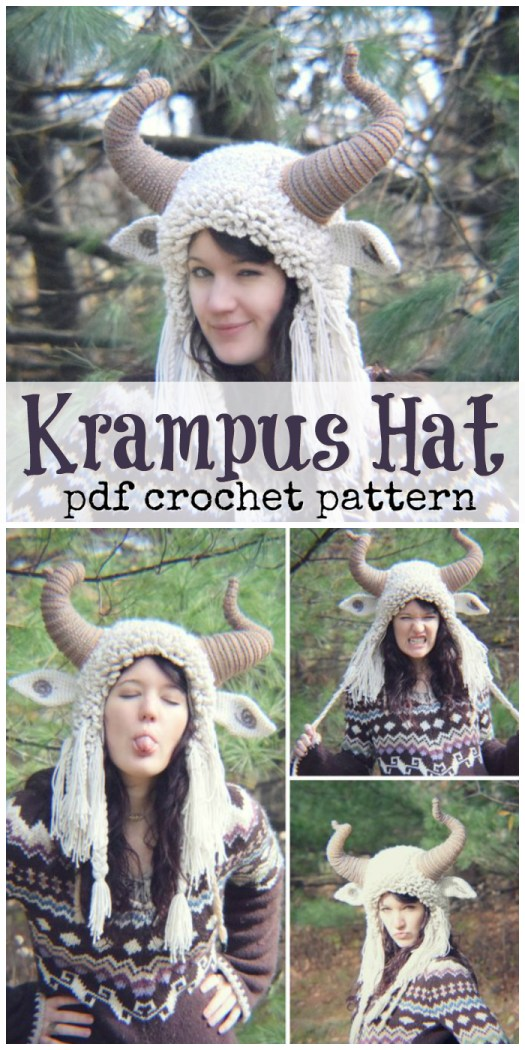 Wow! What an incredibly creative and unique pattern! The Krampus Hat crochet pattern would make a fabulous Halloween costumer or a lovely gift for a unique individual! Also, this hat looks super warm! Awesome! #crochet #hat #costume #adult #DIY #crafts #pattern #yarn #craftevangelist