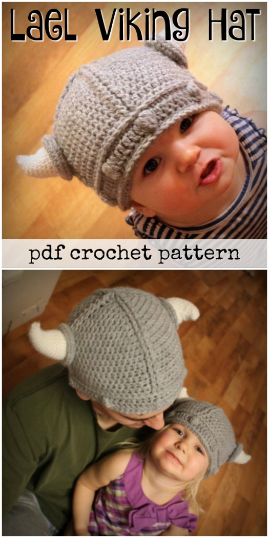 Super sweet and simple Lael Viking Hat crochet pattern! Comes in sizes from baby to adult! Great Halloween costume idea. Make one for everyone in the family and go as a family of vikings! #crochet #pattern #hat #DIY #yarn #costume #Halloween #craftevangelist