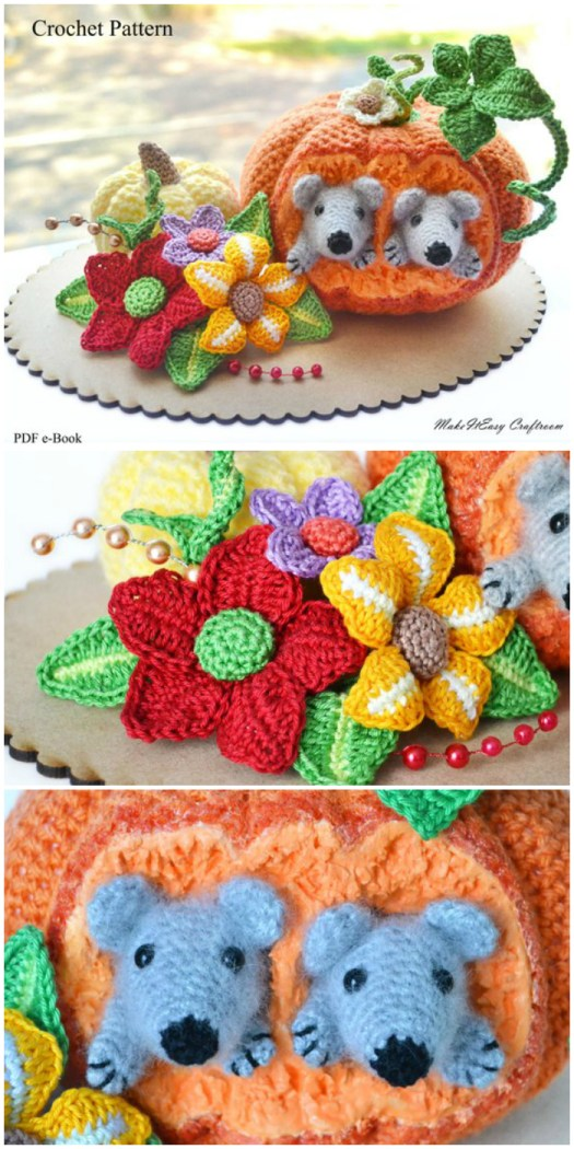 I love the sweet little mice peeking their heads out of this pumpkin! What a lovely amigurumi crochet pumpkin pattern! The vines and leaves are perfect! Great handmade thanksgiving decor idea! #craftevangelist