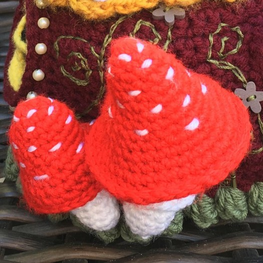 Amazing Crocheted Fairy House Tea Cosy made by #craftevangelist #crochet #crafts #yarn #diy #fairyhouse #teacosy