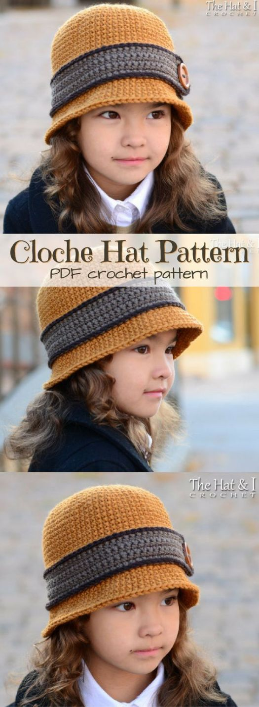 Such a cute hat pattern! Classic Cloche Hat for girls, or fold the rim and it's a bowler hat for boys! So fantastic! What a great idea! Can be made in sizes infant to adult! #theHatandI #yarn #crochet #pattern #hat #crafts #diy #crochethat
