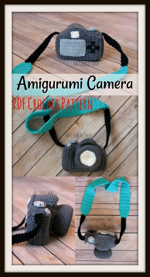 What a cool camera amigurumi crochet pattern! Perfect for a toddler whose parent is a photographer! Nothing to break! #crochet #pattern #amigurumi #yarn #crafts #handmadetoys #handmade #crochetpattern #camera #etsy #craftevangelist