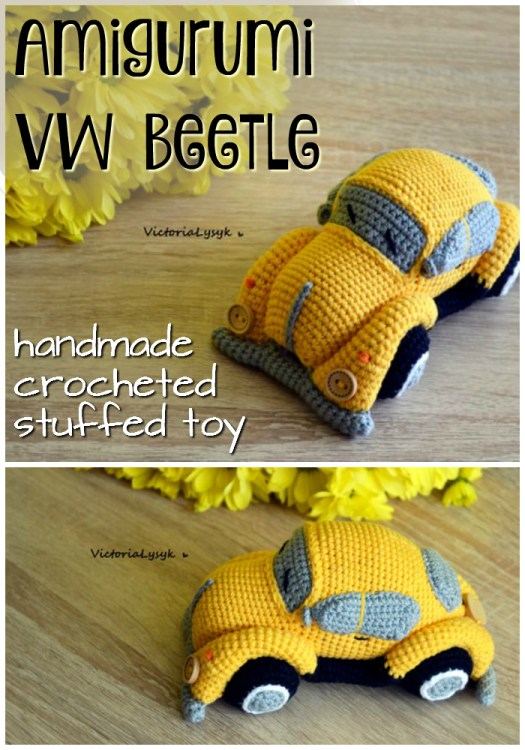Cool! What a great looking VW Beetle crocheted toy! This VW Bug handmade amigurumi is so cool looking! I want one!!! #crochet #amigurumi #handmade #etsy #gifts #toys #volkswagon #beetle #VWbug #crafts #yarn