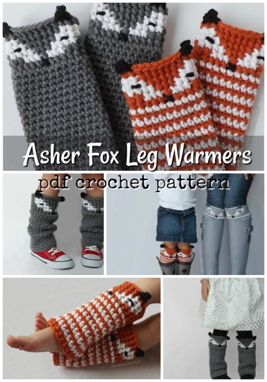 These sweet little leg warmers double as boot cuffs and have adorable little fox faces or a raccoon face! #crochet #pattern #legwarmers #bootcuffs #yarn #crafts #foxes #raccoons #diy #craftevangelist