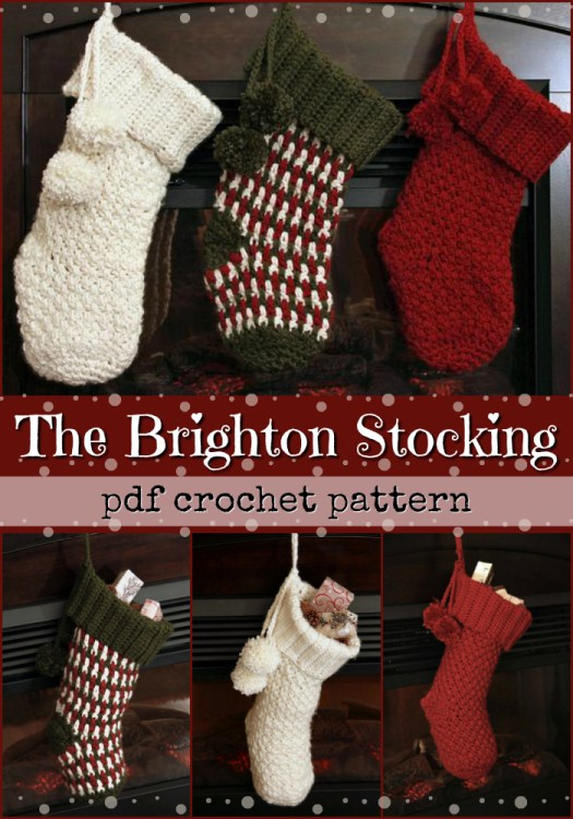 The Brighton Stocking pdf crochet pattern. What a versatile looking pattern! I love the pompoms and making it with 3 different coloured yarns looks like a great idea! Fantastic find by #craftevangelist #crochet #pattern #yarn #crochetpattern #crafts #christmas #stocking #handmade #handmadegifts #giftidea