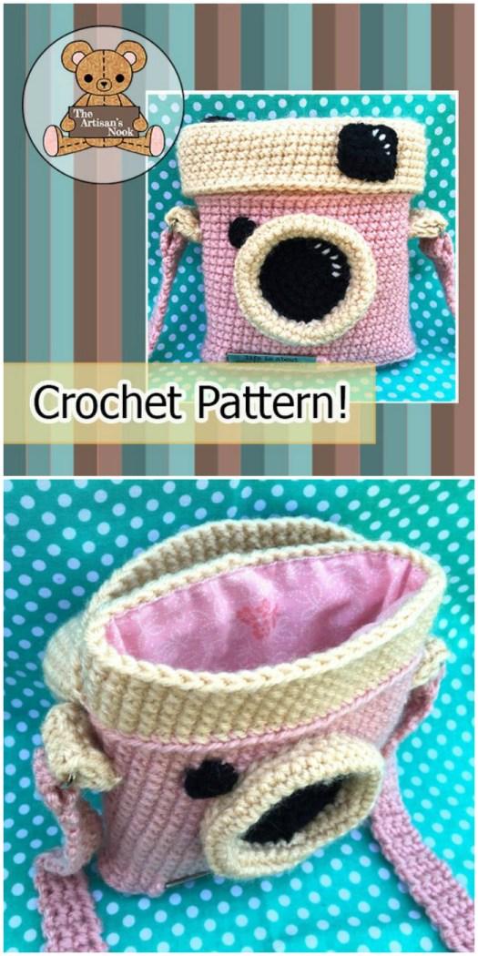 What a fun little retro camera purse crochet pattern! This looks like a great handmade gift to make for a teen! #crochet #pattern #camera #amigurumi #purse #handbag #bag #handmadegift #giftidea #crafts #yarn #craftevangelist