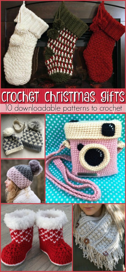 Crocheted Christmas Gifts  - 10 amazing crochet patterns to make as handmade gifts! I love the camera purse! Perfect for the teen who is too cool for everything! #crochet #yarn #pattern #christmas #crafts #diy #crochetpattern #stockings #hats #cowl #booties #baby #craftevangelist