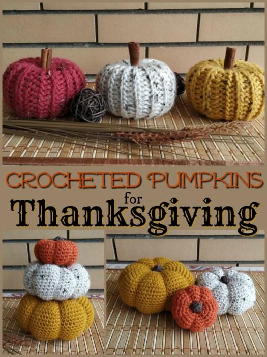 Such cute crocheted pumpkins make great handmade Thanksgiving decorations!