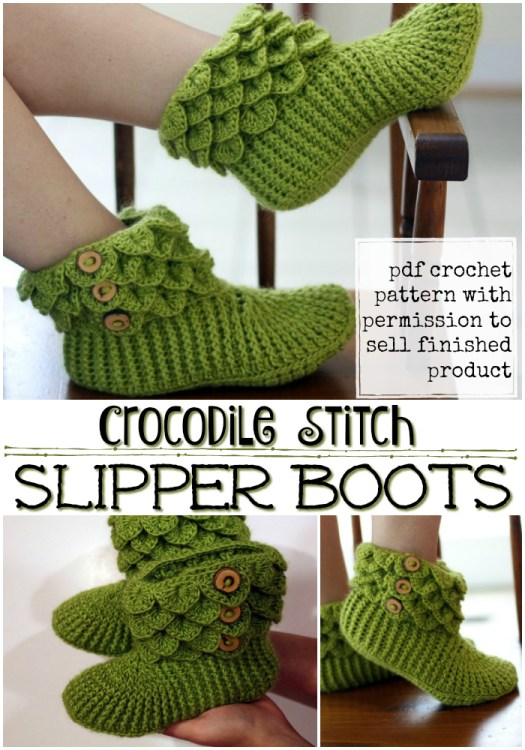 What fun crocodile stitch slipper booties! Great crochet pattern for these dragon slippers! #crochet #pattern #yarn #crafts #diy #slippers #booties