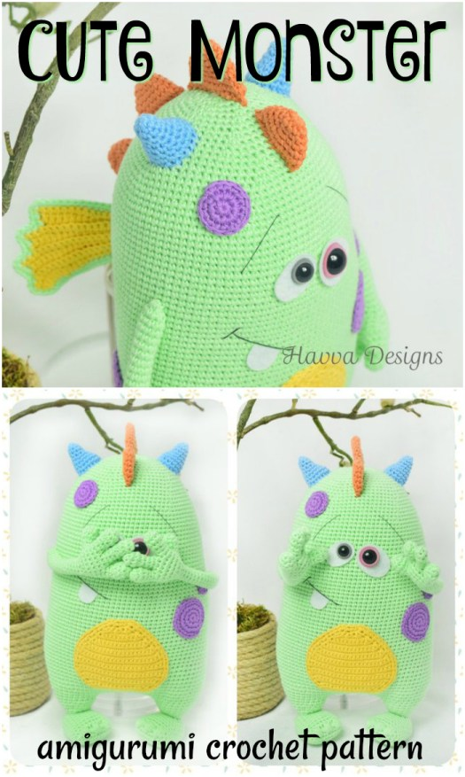 Cute monster amigrumi crochet pattern to make for Halloween! Love these adorable halloween amigurumi crochet patterns! #yarn #crafts #diy #handmade #stuffies #craftevangelist