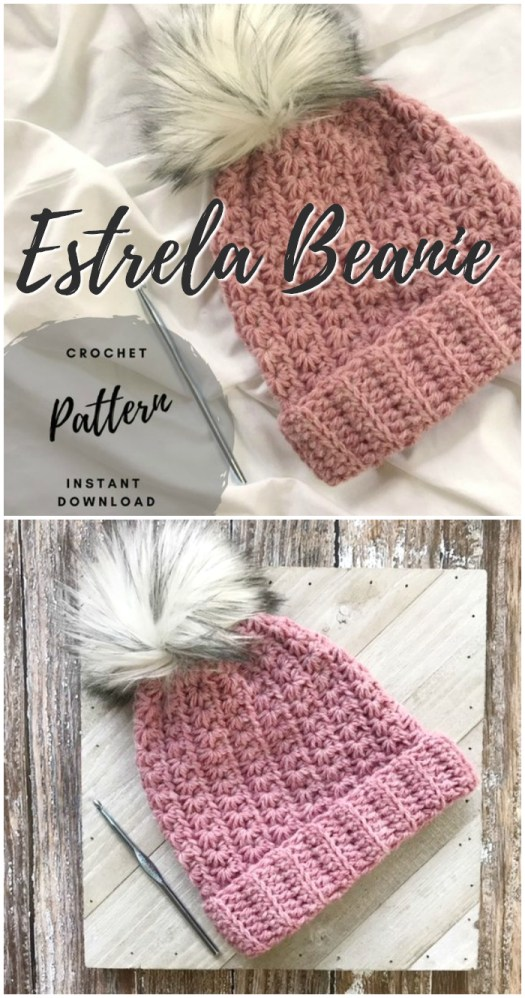 Adorable textured easy beginner crochet pattern with lovely faux fur pompom. Great pattern for a new crocheter! Lots more in this post! #crochet #pattern #crafts #yarn #beginner #craftevangelist #crochethatpattern #hatpattern #crochetpattern #easyhatpatterns