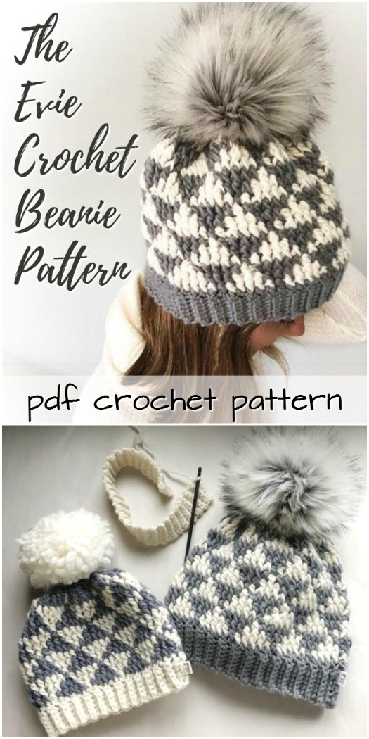 Super cute geometric pattern on this Evie Crochet Beanie pattern! Perfect to make for Christmas gifts! #crochet #pattern #crochetpattern #crochethat #hat #beanie #toque #handmadegifts #handmadegiftideas #giftideas #crafts #yarn #pompom