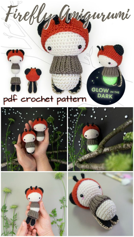 Gorgeous little Firefly amigurumi crochet pattern! What a sweet little glow worm toy with removable parts! So fun! I love lalylala's patterns #crochet #pattern #lalylala #amigurumi #toy #handmade #yarn #crafts #craftevangelist