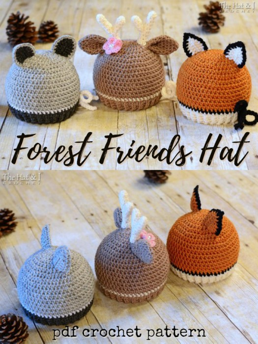 Such a sweet trio of hats! The Forest Friends hat pattern with options to make a racoon hat, a deer beanie or a fox toque! Super cute crochet pattern in sizes baby, toddler, child & adult #crochet #pattern #fox #yarn #diy #crafts #pdf #download #thehatandi #crochetpattern #diy #craftevangelist