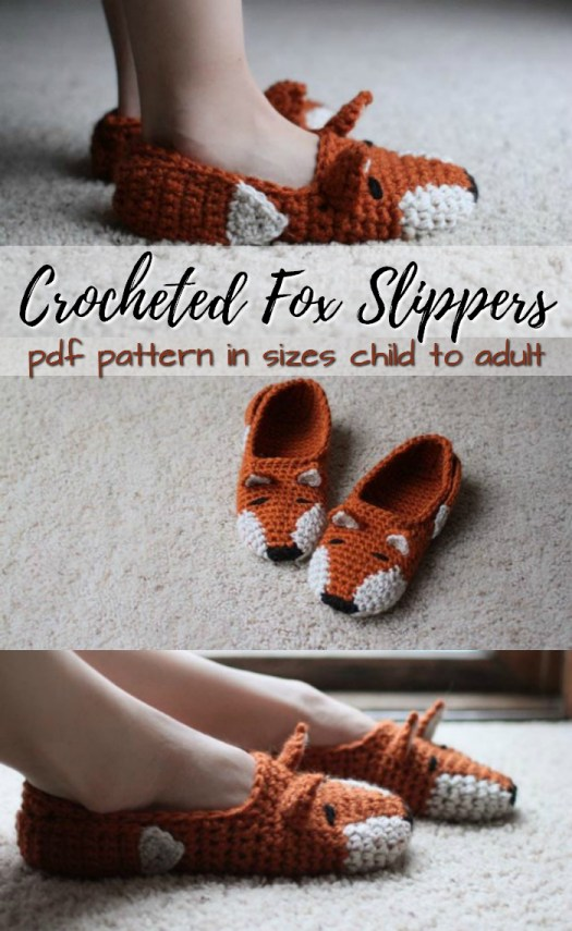 Crochet pattern for fox slippers in sizes child to adult! Love these adorable slippers! Perfect for fall! #crochet #pattern #yarn #diy #crafts #handmade #slippers #foxes #socks #craftevangelist