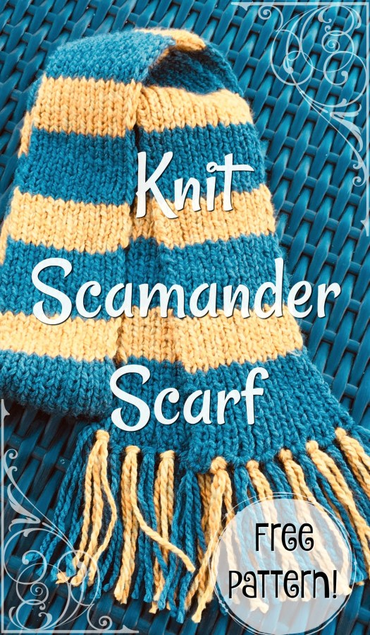 Knit Scamander Scarf free knitting pattern for this Hufflepuff scarf, as seen on Fantastic Beasts and Where to Find them by New Scamander. This pattern is available for free from craft evangelist. Check out the free pattern round up! #newtscamanderscarf #freescarfpattern #hufflepuffscarf #knittingpattern #freeknittingpattern #freepattern #craftevangelist #knitscamander