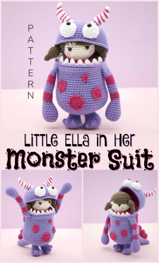 Aaw! What a sweet little crocheted doll in a monster suit, costume! Perfect little handmade stuffed doll amigurumi pattern to make for Halloween! #crochet #diy #yarn #crafts #pattern #amigurumi #halloween #craftevangelist
