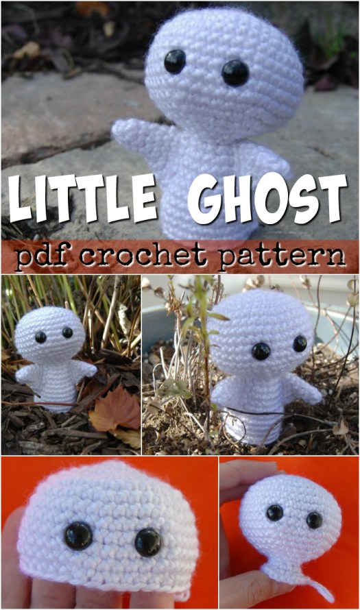 What a cute little ghost amigurumi crocheted toy pattern! It looks so easy to make up for Halloween! Love this little ghost! #crochet #pattern #crafts #yarn #DIY #Halloween #craftevangelist