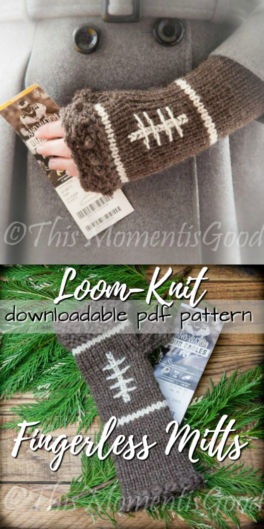 What a fun pair of loom knit fingerless mitts, perfect for the football fan... or the knitter forced to go to football games! Lovely loom-knitting pattern for these adorable wrist warmers! #loom-knitting #wristwarmers #fingerlessgloves #pattern #knit #craftevangelist #etsy
