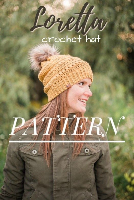 Gorgeous textured crocheted hat pattern with a fun slouchy top and faux fur pompom hat! Perfect gift idea, even for a beginner crocheter! #crochet #hat #pattern #beginner #easy #yarn #crafts #craftevangelist