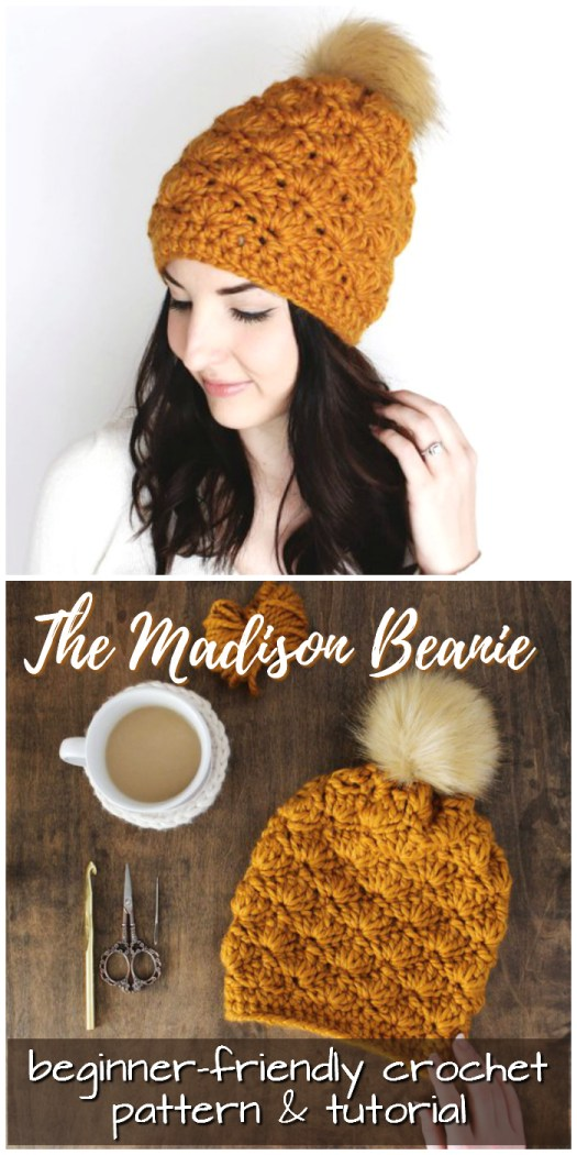 Love the texture on this Madison Beanie! I think my friends will all like to get one of these this year! Instructions and tutorial for the beginner crocheter #crochet #hat #pattern #beginner #easy #yarn #crafts #craftevangelist