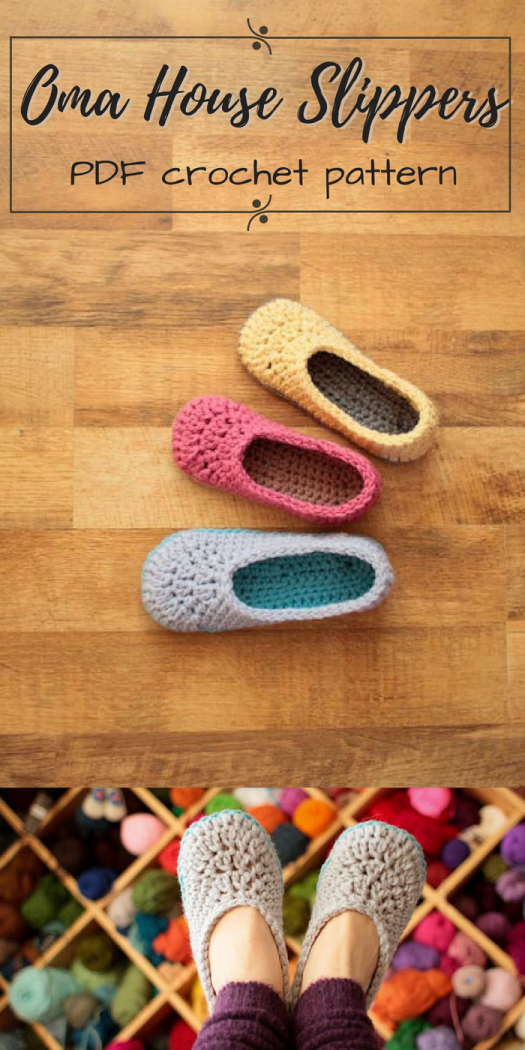 I love these super cute and simple house slippers! Oma House Slippers, just like grandma made and had at her house! #slippers #crochet #pattern #pdf #download #craftevangelist #mamachee