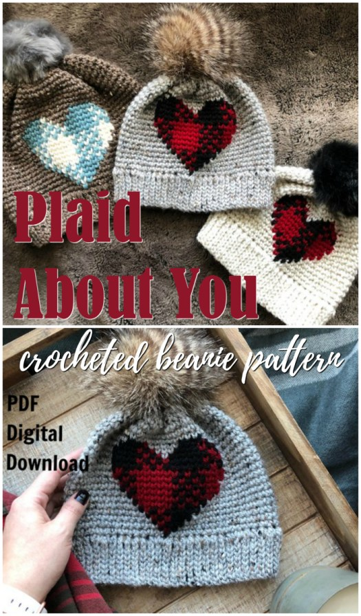 So cute! Adorable heart plaid crocheted beanie pattern! Love this with the furry pompom!  #crochet #pattern #plaid #beanie #toque #yarn #buffaloplaid