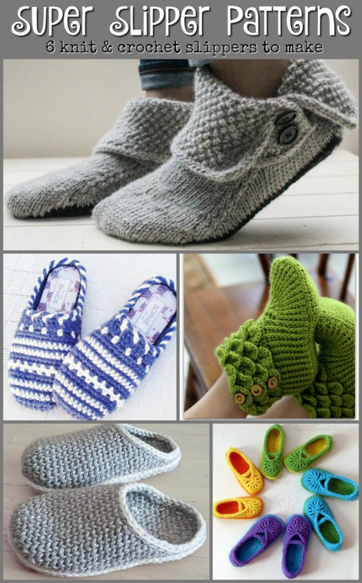 Check out these great knit and crochet slippers patterns to make for women! Help #craftevangelist pick which one to make this year! #knit #crochet #pattern #slippers #booties #yarn #crafts #diy