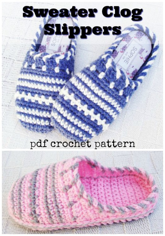 What a great crochet pattern for clog slippers! I love the sweater look of these gorgeous cosy slippers! Great for keeping toes warm this winter! #crochet #pattern #yarn #crafts #diy #crochetpattern #slippers #craftevangelist