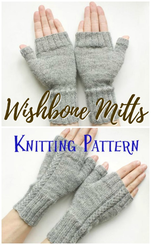 Lovely Wishbone Mitts knitting pattern. Slim-fitting, cable knit embellished fingerless mittens knitting pattern, perfect for keeping your hands warm in the office or while knitting! #knitting #knit #pattern #wristwarmers #knittingpattern #yarn #crafts #fingerlessgloves #finglerlessmitts #craftevangelist