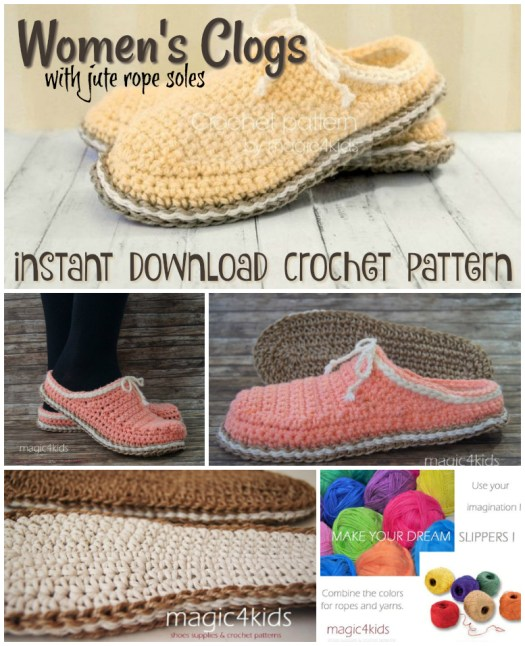 Love these rustic women's clogs with just rope soles crochet pattern! Can't wait to make myself some warm house slippers! #crochet #pattern #yarn #crafts #diy #craftevangelist