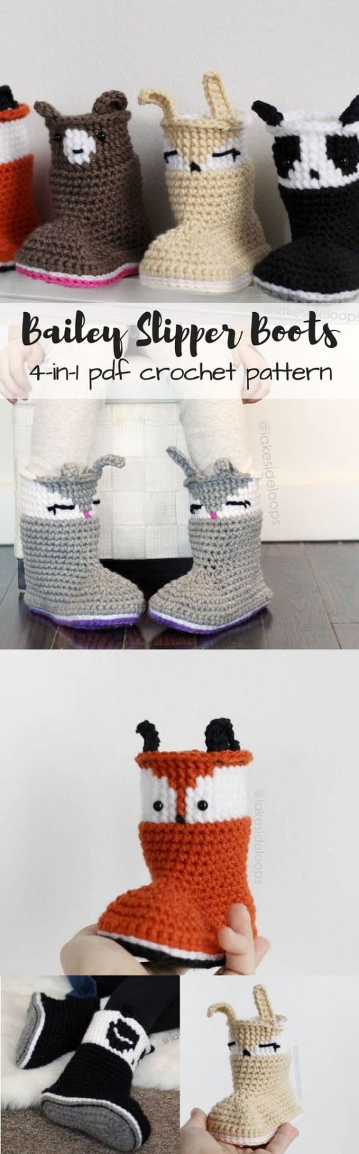 Bailey Slipper Boots in toddler and child sizes. Simple to crochet adorable little booties that any child would love to wear! I love the fox ones! #crochet #pattern #slippers #booties #crafts #yarn #crochetpattern #diy #craftevangelist
