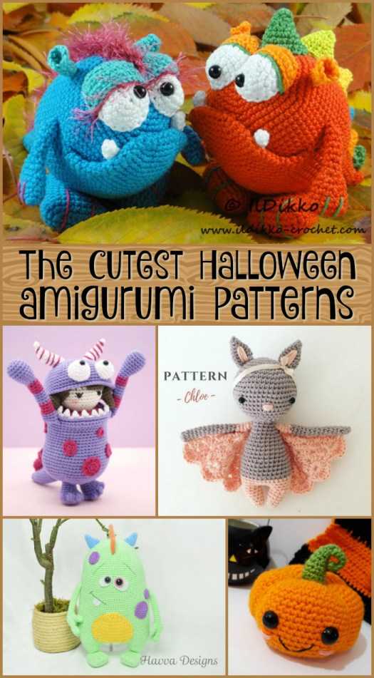 Check out these completely cute Halloween Amigurumi Crochet patterns! Not scary! Just adorable! What a lot of fun to make! #crochet #pattern #crafts #diy #yarn #craftevangelist