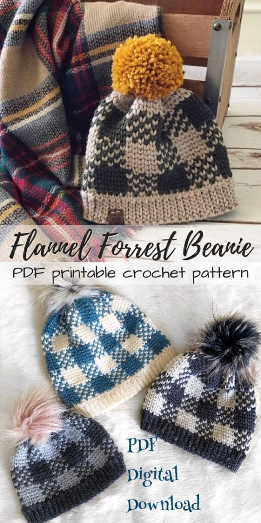 Gorgeous plaid CROCHET pattern for this lovely Flannel Forrest Beanie from the Evelyn and Peter Etsy shop! What a fun plaid hat design! Perfect for fall! #plaid #crochet #pattern #flannel #yarn #crafts #diy