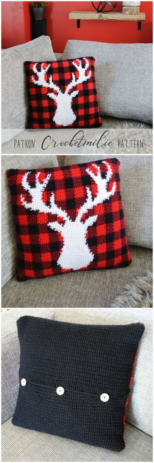 This crochet pattern for a buffalo plaid pillow cover with a deer silhouette is so great! What a fun throw pillow to make for the festive winter season! Great Christmas holiday decor! #crochet #plaid #pattern #yarn #diy #crafts #decor #craftevangelist