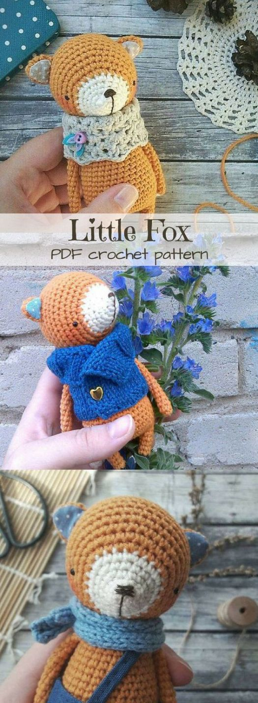 What a sweet little fox amigurumi crochet pattern! Makes a perfect handmade gift idea! #crochet #pattern #amigurumi #stuffies #toys #handmade #fox #fall