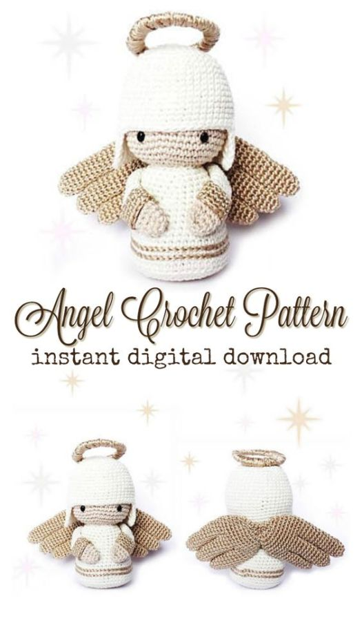 What a sweet angel amigurumi crochet pattern! Perfect little handmade gift for baby's first Christmas! #crochet #patterns #amigurumi #holiday #christmas #stuffies #toys #handmade #gift #ideas #yarn #crafts #craftevangelist