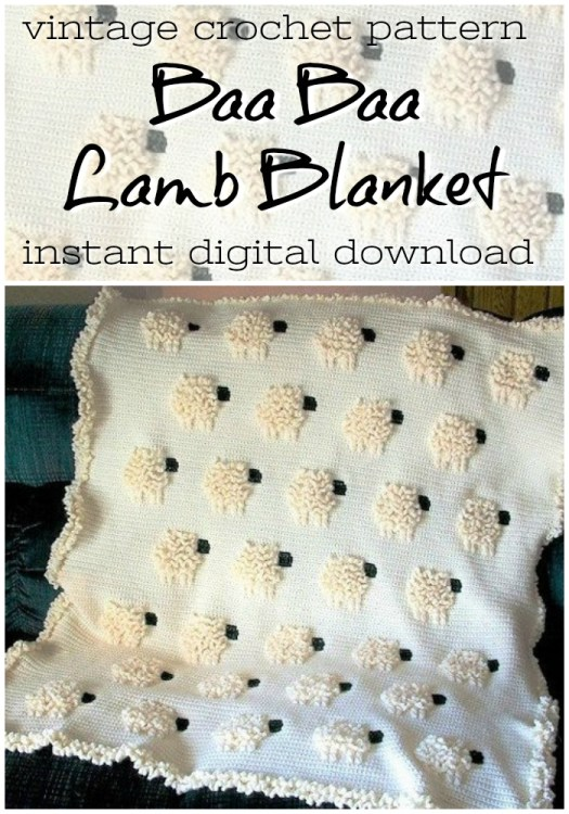 Aaw, super cute fuzzy lamb crochet blanket pattern. I love that this is a vintage pattern, but would look right in place in so many contemporary nurseries! #crochet #pattern #blanket #afghan #baby #crafts #yarn #diy #craftevangelist