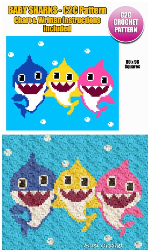 Baby sharks corner to corner crochet pattern C2C with chart & written instructions. Love these adorable little sharks! #crochet #pattern #c2c #blanket #baby #afghan #babyblankets #craftevangelist
