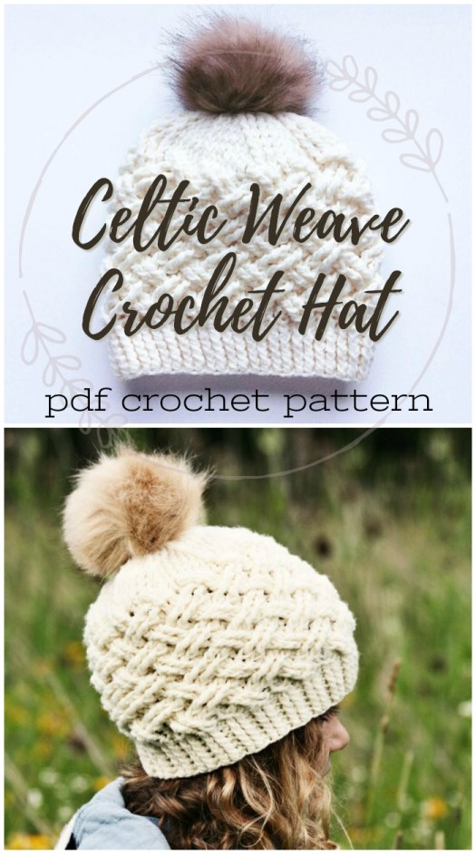 I love the Celtic weave stitch in this crocheted winter hat pattern. This designer has such great hat patterns to check out! #crochet #hat #beanie #winterhat #toque #pattern #crochetpattern #crafts #yarn #craftevangelist