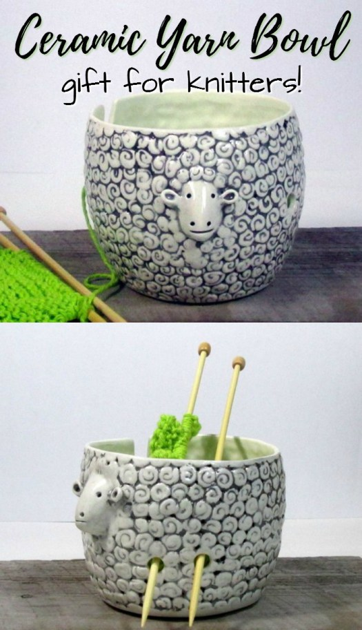 What a fun yarn bowl! I love this ceramic sheep yarn bowl, a perfect gift for a knitter! So cute! #giftsforknitters #yarnbowl #yarn #crafts #giftideas #christmas #etsy #craftevangelist