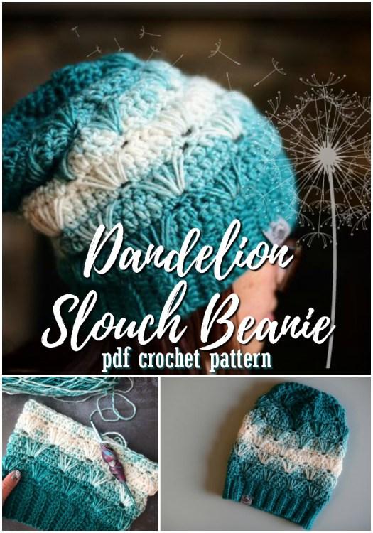 Dandelion slouch crocheted winter hat pattern. Love this slouchy beanie pattern with this stitch pattern! Looks adorable! #crochet #hat #pattern #toque #beanie #winterhat #christmas #handmadegiftideas #yarn #crafts #craftevangelist