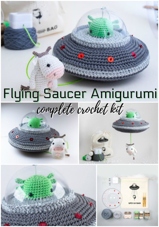 Whoa! This is so cool! I need one of these flying saucer amigurumi crochet kits! It has a pull cord that plays the theme song from X-Files! How cool is that?! #amigurumi #crochet #pattern #kit #crafts #yarn #aliens #cowabduction #craftevangelist