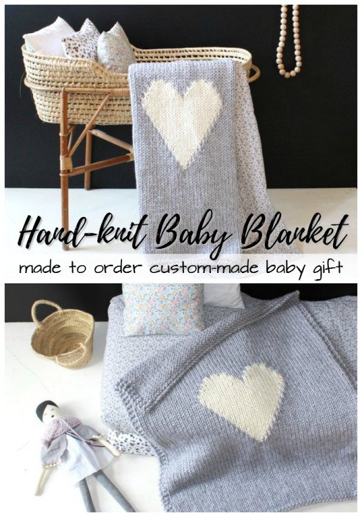 Gorgeous hand-knit baby blanket, made to order, perfect special gift for expectant parents for the new baby! So sweet and neutral! Love this! #blanket #baby #babygifts #giftideas #handmadegifts #handmade #craftevangelist